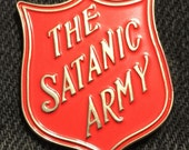 Red Satanic Army Enamel Pin