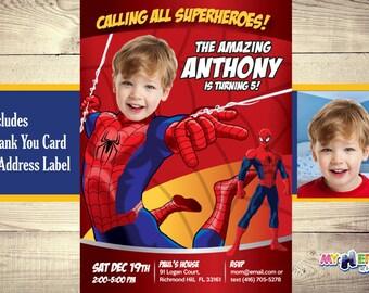 Spiderman Invitation With Your Boy As Birthday Amazing Custom Photo