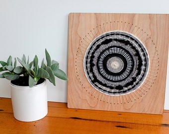 Black and White Woven Wall Hanging, Circular Weaving, 12 inch by 12 inch