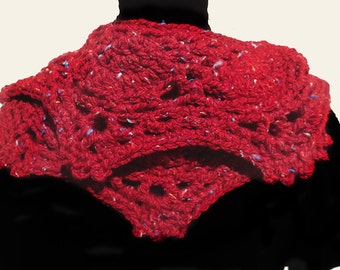 Infinity Scarf - Crocheted Yarn - Spotted Red