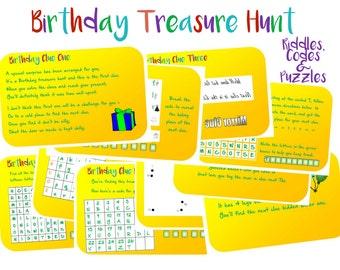 Indoor Birthday Treasure Hunt Clues Printable - Instant Download