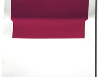 A7 White with Crimson Red Lined Envelopes - 10 Pack