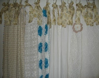 Shabby Chic Shower Curtain/Vintage Crochet/Vintage Fabric/Vintage Doilies