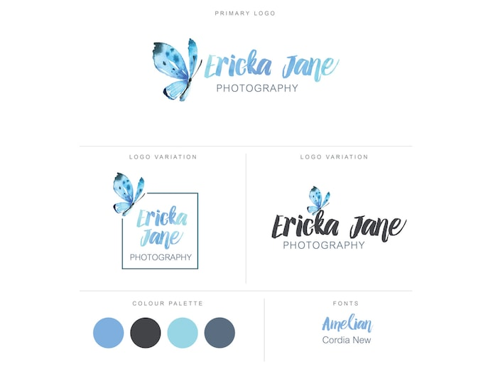 Branding Package - Photography Logo and Watermark - Watercolor Butterfly - Script - Logo Design - Watermark - Premade Marketing Kit - BPL12