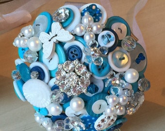 Wedding button bouquet, Flower girl or young Bridesmaid, in turquoise, white and silver, wedding flowers, UK seller