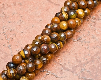 """Natural Tiger Eye 6 mm faceted round bead 15"""" strand (#J1070)"""