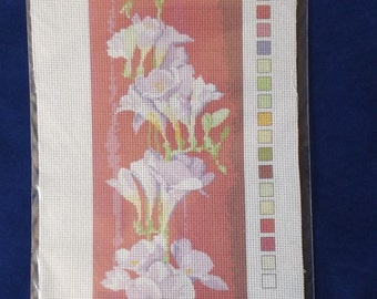 Printed Aida cotton canvas for cross stitch - Flowers (#317)