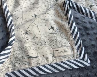 Vintage Airplane World Map Travel Baby/Toddler Blanket