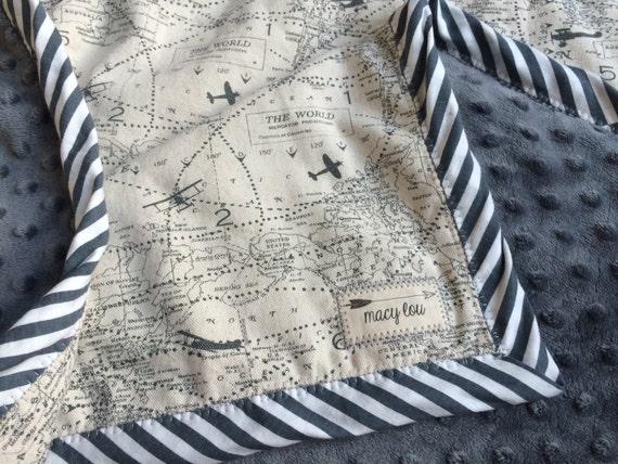 Vintage Airplane World Map Travel Baby Toddler Blanket