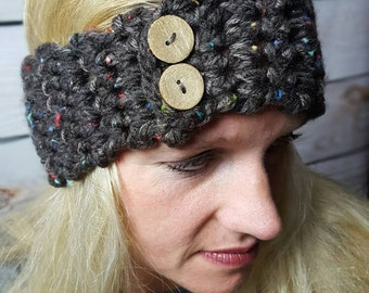 Handmade Crochet Hairband, Knitted Headband, Crochet Headwrap, Headwarmer - Cocoa Brown with Color Flecks and Wood Button Closure