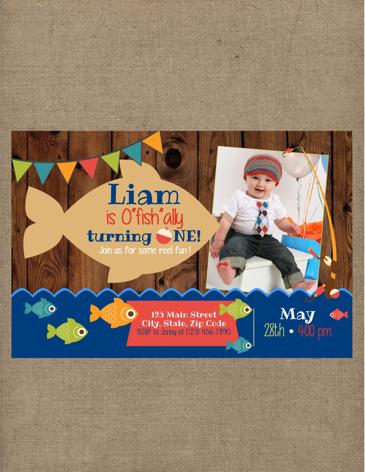 Fish Fishing Ofishally One Birthday Invitation Big One Gone – The Big One Birthday Invitation