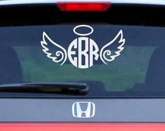 Angel Wings Monogram Decal | Angel Decal | Wings Decals | Circle Monogram | Heaven Sticker | Car Decal