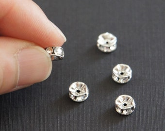 Swarovski Crystal Rondelle, Crystal Beads, 6mm, Rhodium Plated Brass, Wedding Jewelry Supply, Fast Shipping from USA