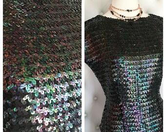 Black Irridescent Sequin Vintage Blouse Size L