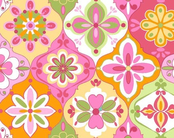 Extravaganza Ceramic Pink, Yellow, Orange and Green Floral by Lila Tueller for Riley Blake - C4641-PINK