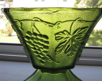 Vintage olive green grapevine design glass vase