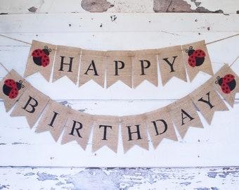 LadyBug Happy Birthday Banner,Burlap Happy Birthday Banner, Lady Bug Banner,Red and Black Birthday Party, B313