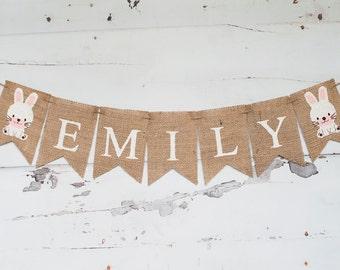 Bunny Name Banner, Easter Name Banner, Personalized Easter Banner, Easter Nursery Decor, Bunny Banner, B215