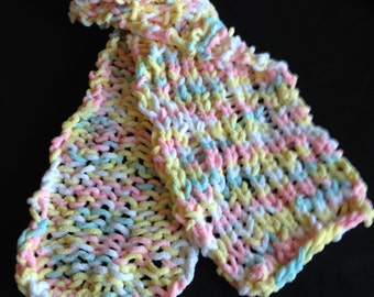 Knit Purl Scarf, Small Scarf, Pink/Blue/Yellow