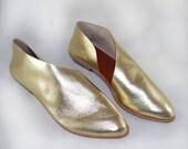 The Sandy MGG~ Handmade Gold Flats