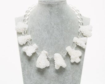 Necklace handmade with natural stones. White coral, rock crystal