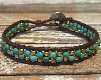 Turquoise Bracelet / Leather Bracelet / Bohemian Bracelet / Boho Jewelry