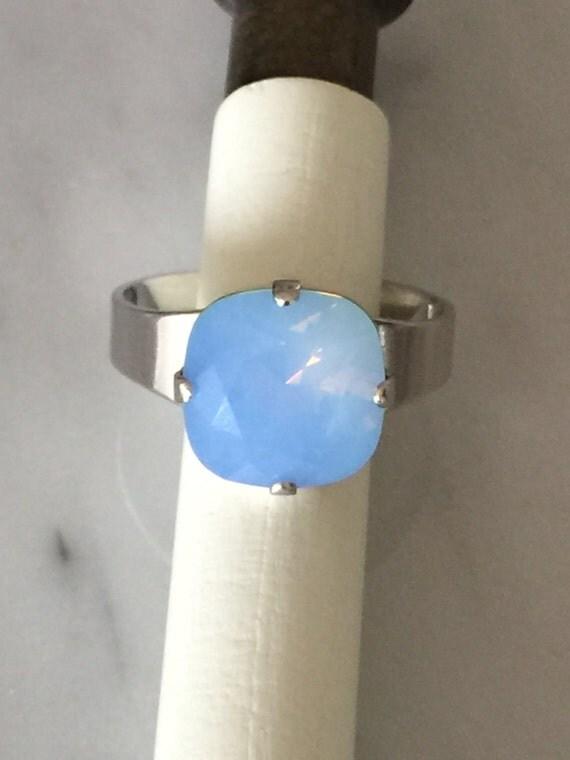 Swarovski Cushion Cut Air Blue Opal Crystal Adjustable Ring