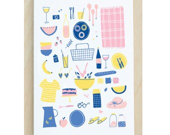 Summer Picnic Illustrated Greetings Card