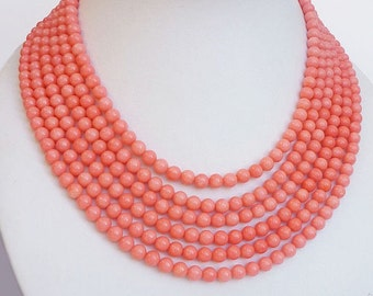 """Pink coral beads """"the Coral Cascade"""""""