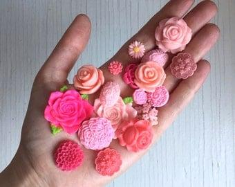 50 pink tone rose flower cabochon assortment