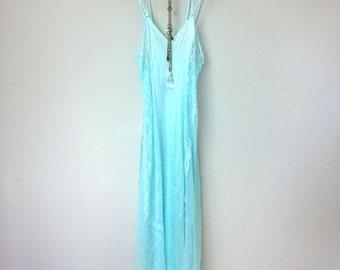 Pretty Light Blue Vintage Nylon Slip Dress with Double Spaghetti Straps, Sheer Lace Panels on Sides, Boudoir, Boho, Great Gatsby. Art Deco