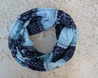 Blue deer and snowflake infinity scarf