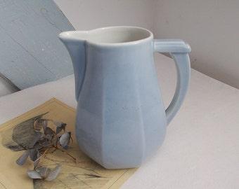 Blue French Milk Jug or Vintage pitcher LIMOGES Art Deco