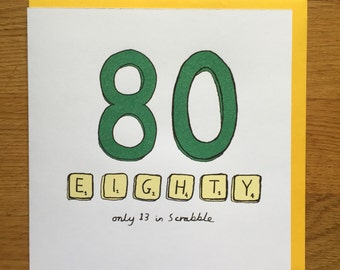 Happy birthday card 80th 80 scrabble eightieth birthday card forty birthday card eighty
