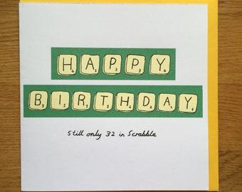 Birthday card, happy birthday card, scrabble
