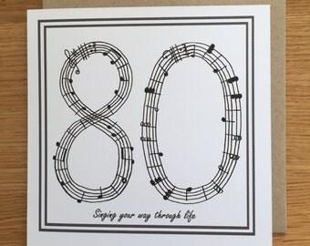 80 birthday card / 80th/ eightieth birthday card. Singing