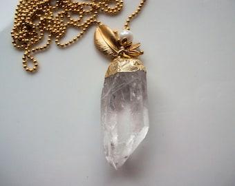 Necklace Crystal quartz 24 k gold gemstone necklace long pendant necklace crystal gold