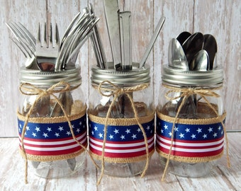 4th of July Party - Independence Day Decorations - Rustic Patriotic Decor - July 4thParty Decor - Patriotic Mason Jars - Set of 3 - July 4th