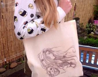 Cotton Tote Bag Canvas Tote Art Tote Art Bag Koi Carp Art Fish Art Fish Bag Beauty Bag Modernist Art Tote Art Woman Art Woman Bag