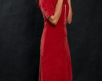 vintage corduroy  bordeaux dress / hulf sleeve dress / midi dress