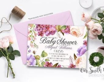 Garden Baby Shower Invitation DIY PRINTABLE Customizable Digital Prints