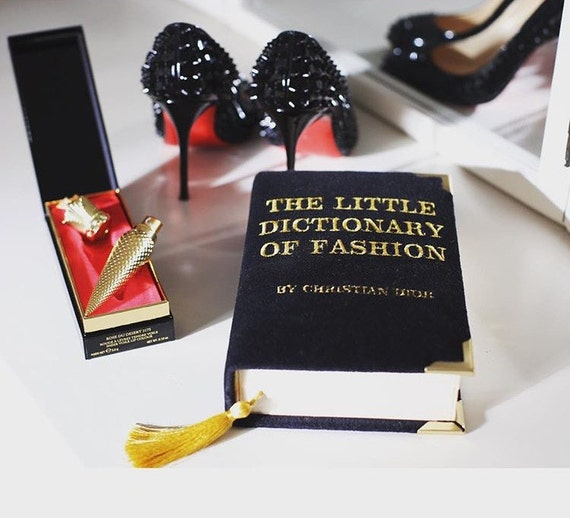 Velvet book clutch the LITTLE DICTIONARY of FASHION by Christian Dior available in many colors - book made from purse - 100% handmade.