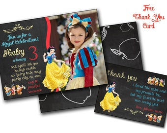 Chalkboard Snow white birthday invitation invite Chalk Snow White party Disney Princess,Swon White birthday card, Printable editable