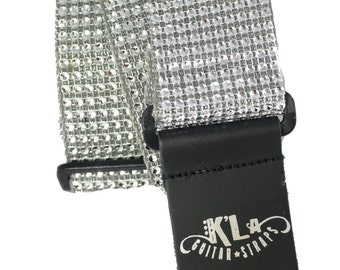 Silver  Guitar Strap, Sparkly Guitar Strap, Celebrity Guitar Strap, Guitar Straps, Crystal Guitar Strap