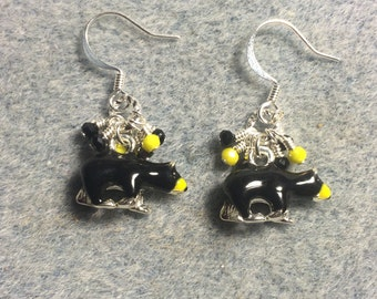 Black and yellow enamel bear charm dangle earrings adorned with tiny black and yellow Chinese crystal beads.