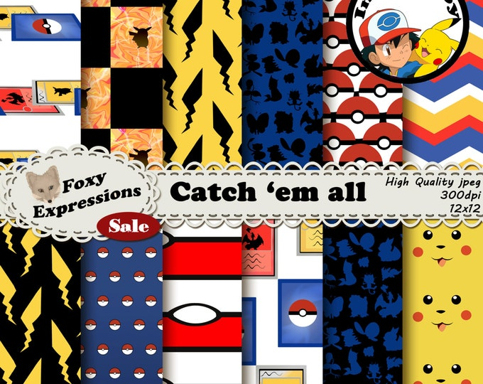 Catch 'em all digital paper inspired by Pokemon Designs include pokeball, trading card, pikachu, polka dots, chevron, lighting attack & more