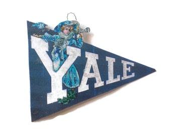 Yale, Yale University, Yale Football, Yale Decoration, Yale Ornament, Earl Christy Postcard, Pendant College Dorm Handmade Collectable OOAK