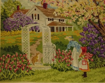 Vintage Needlepoint.  Summer Scene.