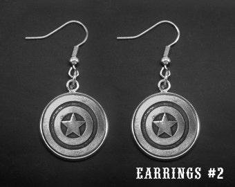 Silver Pentagram Earrings -Captain America Dangle Earrings -Super Hero Earrings -Gift For Her -Personalized Earrings