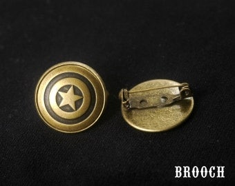 Pentagram Brooch Pin -Captain America Brooch -Super Hero Brooch